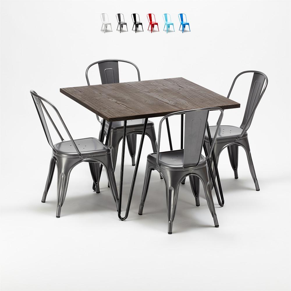 Neliön muotoinen pöytä ja tuolit metallia ja puuta teollisessa Tolix-tyylissä Pigalle