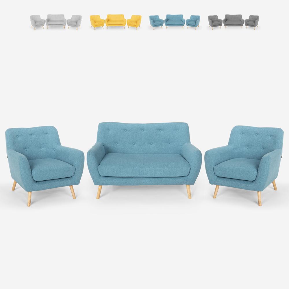 Olohuone 2 skandinaavista design -nojatuolia ja 2 -istuttava sohva puusta ja kankaasta Cleis
