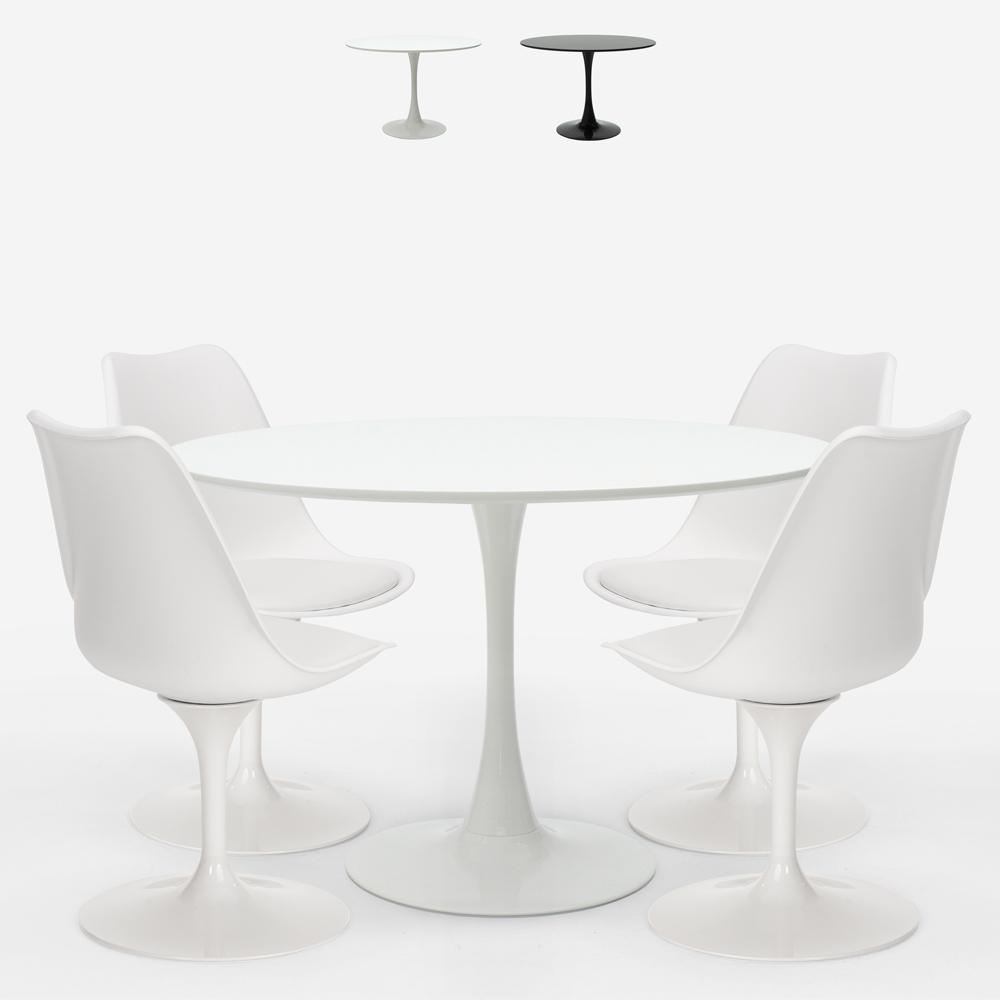 Pyöreä pöytä 120 cm 4 modernia skandinaavista tyyliä tulppaanituolia Margot